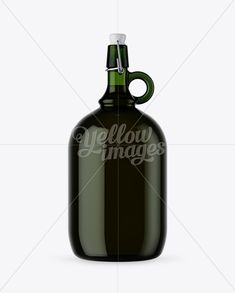 3L Green Glass Bottle With Handle & Clamp Lid Mockup