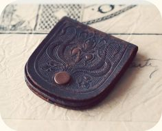 Antique Art Nouveau Tooled Leather Coin Purse