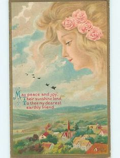 Pre-Linen art nouveau FACE OF PRETTY GIRL IN THE SKY OVER VILLAGE HL4727