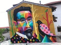 by Okuda in Polanco, Cantabria, Spain, (LP) Grafitti Street, Street Wall Art, Graffiti Wall Art, Urban Street Art, Murals Street Art, Art Mural, Wall Murals, Okuda, Classical Realism