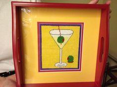 Martini Tray.Great way to finish a small needlepoint piece.www.posneedlepoint.com