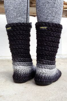 Crochet Slipper Boots with Leather Soles For Women and Men - MarketSpace