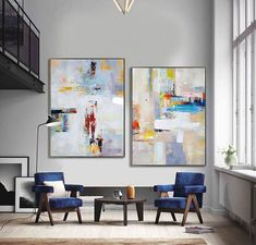 Set Of 2 Large Contemporary Painting, Abstract Canvas Art, Original Artwork by Leo, Hand paint. Blue, red, yellow, orange.