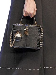 DOLCE & GABBANA - POCKET WATCH EMBOSSED LEATHER DOLCE BAG - LUISAVIAROMA - LUXURY SHOPPING WORLDWIDE SHIPPING - FLORENCE
