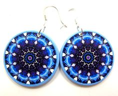 Blue Decoupage Earrings, Navy Blue and Purple by JewelryByJolanta, $15.00