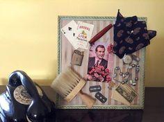 Found objects assemblage art.Framed wall art.Inspiration board.Memorabilia.Cabinet men curiosities. Shadowbox art. Recycled Assemblage art