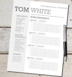 INSTANT DOWNLOAD - Resume Design Template - Microsoft Word, Editable, Custom, Black, White, Gray, Blue,