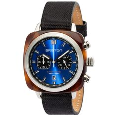 Clubmaster Sport Acetate - Chronograph tortoise shell blue sunray dial - Briston Watches