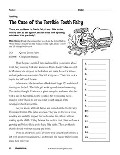 The Case of the Terrible Tooth Fairy - free activity page for students to correct spelling errors