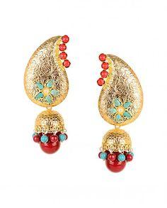 Paisley Jhumka Earrings with Maroon Drop