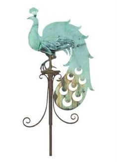 Architectural Heritage knockoff - Peacock weathervane An Early 20th Century Copper Peacock Weather Vane A copper weather vane in the form of a stylised Peacock, circa 1910. This weather vane is provenanced to the garden house of Highmount, a garden designed by Gertrude Jekyll in 1909 near Guilford, Surrey – a wonderful link to an acknowledged great garden which is now sadly no longer in existence, though pictures of the garden and the weather vane can still be found in Lawrence Weaver's…