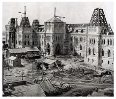 The construction of Parliament Hill, Ottawa, 1863.