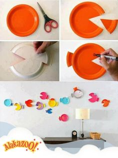 Easy fish decorations, use up all those extra party plates from birthdays past!