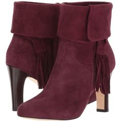 Johnston & Murphy Keaton (Bordeaux Kid Suede) Women's  Shoes ($278) ❤ liked on Polyvore featuring shoes, boots, ankle booties, ankle boots, high heel bootie, cuffed ankle boots, cuff ankle boots, suede high heel boots and high heel ankle boots