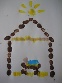 .thumb print nativity painting