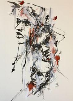 India ink, sanguin ink and posca on paper 30x40 cm #inktober #art