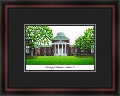 University of Delaware Framed & Matted Campus Picture