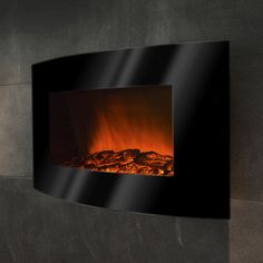 """36"""" Wall Mount Curved Glass Electric Fireplace"""