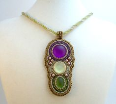 LunaSoft Trio Bead Embroidered Pendant Necklace by beadn4fun, $65.00