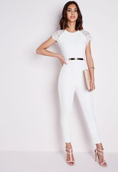 50 Current Outfits Trending Now - Fashion Trends - Trending Now Fashion, Trending Outfits, White Jumpsuit Formal, White Lace Jumpsuit, Tailored Jumpsuit, Black Jumpsuit, Girl Fashion, Fashion Outfits, Fashion Trends