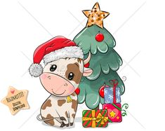 Christmas Cartoons, Christmas Characters, Christmas Clipart, Christmas Drawing, Christmas Art, Christmas Illustration, Cute Illustration, Cow Clipart, New Year Art