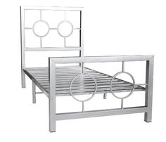 Home Source Industries 13161 Twin Metal Bed Frame with Decorative Headboard and Footboard, Silver Iron Furniture, Steel Furniture, Home Decor Furniture, Cama Industrial, Industrial Design Furniture, Headboard Decor, Headboard And Footboard, Bed Frame Design, Bed Design
