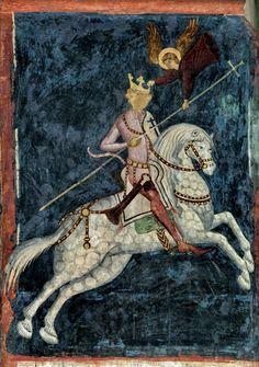 Image of Jogaila of Lithuania (Ladislaus II Jagiello of Poland) on horseback by Ruthenian Master Andrej, fragment of a fresco, 1418 (PD-art/old)Kaplica Trójcy Świętej na Zamku w Lublinie – Muzeum Lubelskie w Lublinie