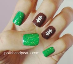 Super Bowl Football Nails! - Polish and Pearls- going to have to do these for football season!!