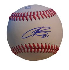Christian Colon Autographed Rawlings ROLB1 Leather Baseball, Proof Photo