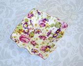 Chintz Open Salt James Kent Rapture - Antique Floral Chintz Individual Salt or Butter Pat Dish