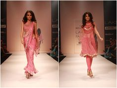 Pink salwar kameez on the right.