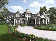 Stunning good looks and a beautiful roof line enhance this Shingle Style house plan that has an impressive porte cochere. Porte Cochere, Dream House Plans, House Floor Plans, Architectural Design House Plans, Architecture Design, Architectural Sketches, Classical Architecture, Dream Home Design, House Design