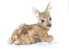 Watercolor Painting Deer Fawn Laying Down Fine Art Giclee Print 5 x 7 Nursery Art. $11.00, via Etsy.