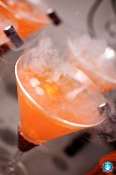 Halloweenie-tini The recipe is: 1.5 oz. Smirnoff Black Cherry Vodka 3 oz. Orange soda (we like Crush) 2 tsp. brown sugar