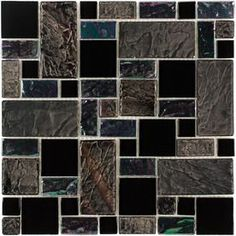 Elida Ceramica Onyx Slate Glass Mosaic Square Indoor/Outdoor Wall Tile (Common: 12-in x 12-in; Actual: 11.75-in x 11.75-in)