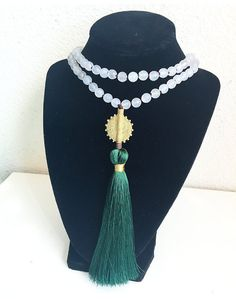 Knotted Bead Necklace Long Tassel Necklace by FlowersInMyHairShop