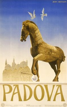 Padova by Bennignati 1949 Italy - Beautiful Vintage Poster Reproduction. This vertical Italian travel poster features a horse sculpture with 2 birds flying overhead and a castle or church behind it. Giclee Advertising Print. Classic Posters