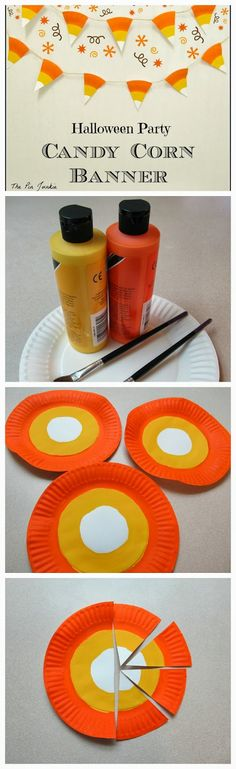 Halloween Party Candy Corn Banner - out of a cheap paper plate - so neat! : Halloween Party Candy Corn Banner - out of a cheap paper plate - so neat! Recetas Halloween, Fröhliches Halloween, Adornos Halloween, Holidays Halloween, Halloween Cupcakes, Halloween Room Decor, Diy Halloween Banner, Diy Halloween Decorations For Your Room, Halloween Pumpkins