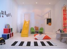 Kids Room, Simple Indoor Playroom Siwth Yellow Sliding Board And Toy Storage Box Also Table And Chairs For Kids: Design Kids Bedroom You, Yo. Indoor Slides, Playroom Design, Playroom Ideas, Playroom Slide, Indoor Playroom, Teen Playroom, Children Playroom, Modern Playroom, Colorful Playroom