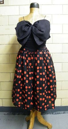 BILL BLASS III..Summer Evening Dress..Spaghetti ..Large Linen Black Bow Bodice & Black With Red Spots  Voile Skirt