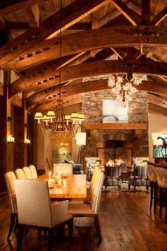 Stunning Rustic Elegance - Love the Dining, the Great Room, Amazing Ceiling, fireplace, beautiful wood flooring, etc...