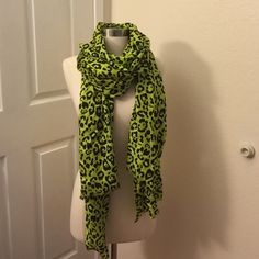 Bright, cute green leopard scarf from NORDSTROMS! One size. Can be used as wrap. Great for a punch of color with an all black outfit. Silky material and high quality construction. Accessories Scarves & Wraps
