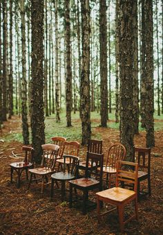 Rustic outdoor Wedding with vintage old chairs, woodland weddings