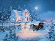 Winter Wonderland by Thomas Kinkade. Christmas Scenes, Christmas Past, Winter Christmas, Country Christmas, Thomas Kinkade Art, Thomas Kinkade Christmas, Kinkade Paintings, Thomas Kincaid, Blessed Night