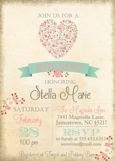 This listing is for a 5x7 personalized image of the bridal shower invitation (digital file only) ****PRINTED OPTION AVAILABLE HERE*********