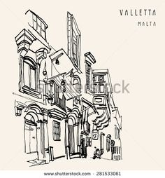 Street in the old historical center of Valletta, Malta. Traditional wooden balconies, windows, doors. Travel sketch illustration with hand lettering. Monochrome retro  postcard greeting card template