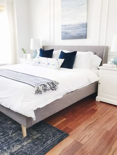 Blue and white modern coastal bedroom #bedroom #calmingbedroom #bedroomdecor #lightbluebedroom