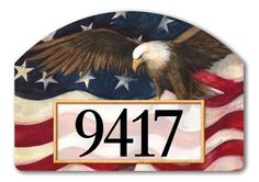"""American Pride Address Sign by MagnetWorks. $15.99. Or display as hanging address sign using our Ornamental Address Post.. Address plaques snap into place onto our Yard Stake.. Includes 2 sets of easy-to-apply self-adhesive address numbers.. Magnetic address sign measures 14"""" x 10"""".. Yard Designs are vinyl coated for long lasting beauty.. AMERICAN PRIDE From Magnet Works Yard DeSigns®Use this interchangeable 14 in. x 10 in. screen-printed magnet with our Metal Yar..."""