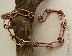 Antiqued copper hand crafted chain alternating link bracelet - 23545f by Boo's Jewellery, via Flickr