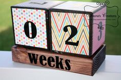 Pregnancy Countdown Blocks in BRAND NEW COLOR Pink Blue and Grey Chevron, Stripes and Polka Dots